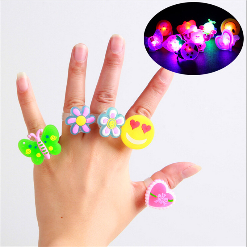 330 One Piece Send Random Kids Toy Led Night Light Birthday Decoration Finger Ring Cartoon Animal Glow In The Dark Toys CY45(China (Mainland))
