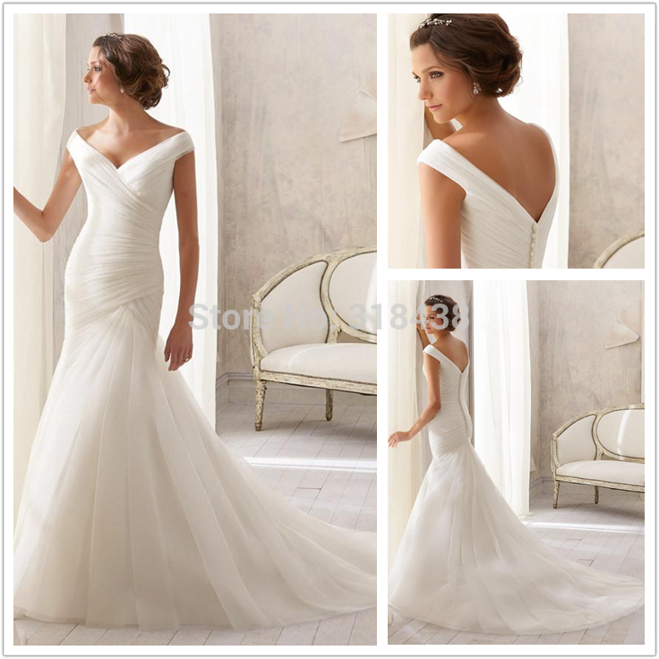 New design 2015 simple elegant sexy open back v neck cap for Simple elegant wedding dress designers
