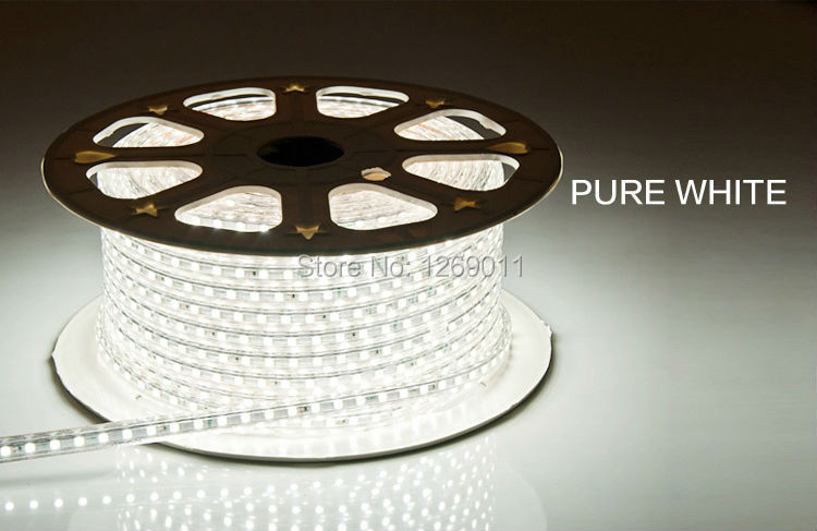 Pure White 5 Meter AC LED Strips SMD3528 60leds per meter with Power Plug Suit for your(China (Mainland))