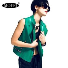 MOFFI green women PU vest, water-washed leather vest jacket, sleeveless women pu leather vest in top quality 52086(China (Mainland))