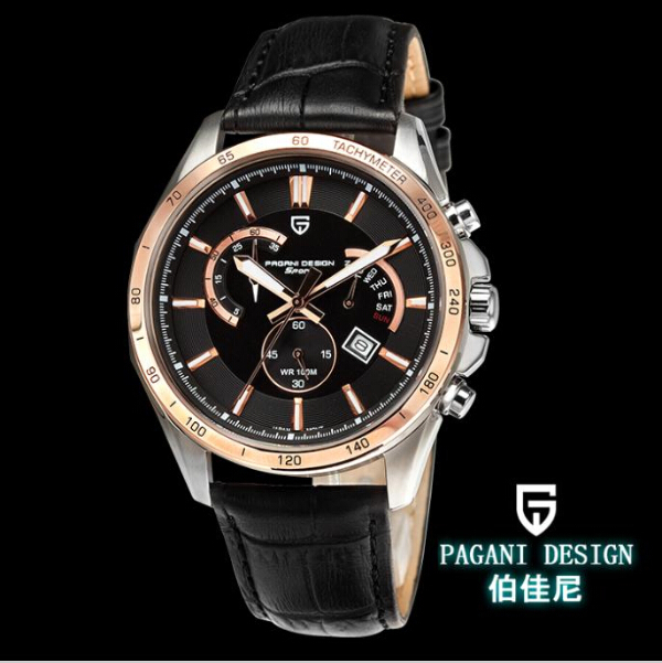 Pagani Design mens quartz movement stopwatch chronograph leather band nice super man watches WITH ORIGINAL BOX (PS-3304)<br><br>Aliexpress