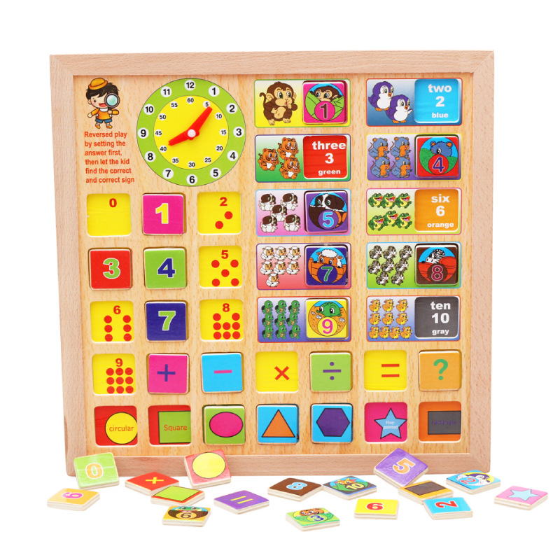 Wooden Baby Math Geometric Shapes Time and Colors Basic Knowledge Educational Board Toy , 32*32cm(China (Mainland))