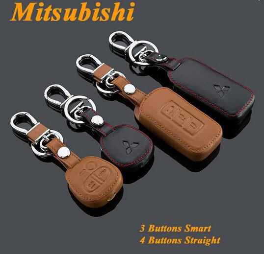 Genuine Leather Car Key Case Fob Cover Keychain Fits for Mitsubishi ASX Lancer EX Outlander ...