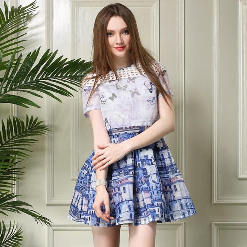 Organza One-piece 2015 romantic casual dress plus size vestidos fashion Summer european Style elegant print party dress OM389Одежда и ак�е��уары<br><br><br>Aliexpress