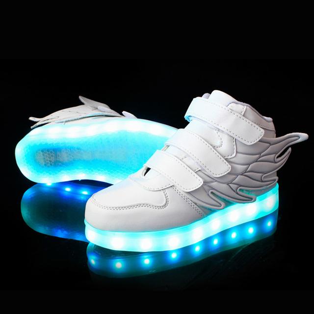 25-37 Размер/USB Зарядки Корзины Дети Светодиодные Обувь С Загораются Дети Случайные Мальчики и Девочки Световой кроссовки Светящиеся Обуви enfant