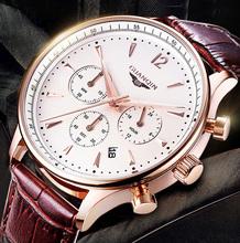 Watches Men Luxury original brand GUANQIN Sport Watches men Dress wristwatch Chronograph waterproof leather Quartz watches Male