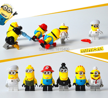 2015 Kids DIY Toys Anime Despcable Me Minion Mini Figures Plastic Building Blocks Bricks Compatible With Lego Baby Toy 6pcs/lot(China (Mainland))