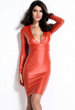 Fashion Women Ladies Bodycon New Autumn 2016 Sexy Clubwear Party Winter black Red Plunging V-neck Long-sleeve Leather Dress 9196