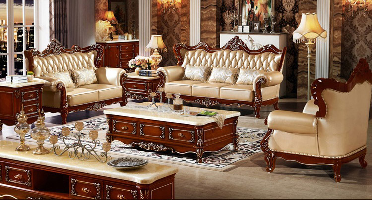 European style Sofa The Size Of the Apartment Living Room Sofa Leather ...