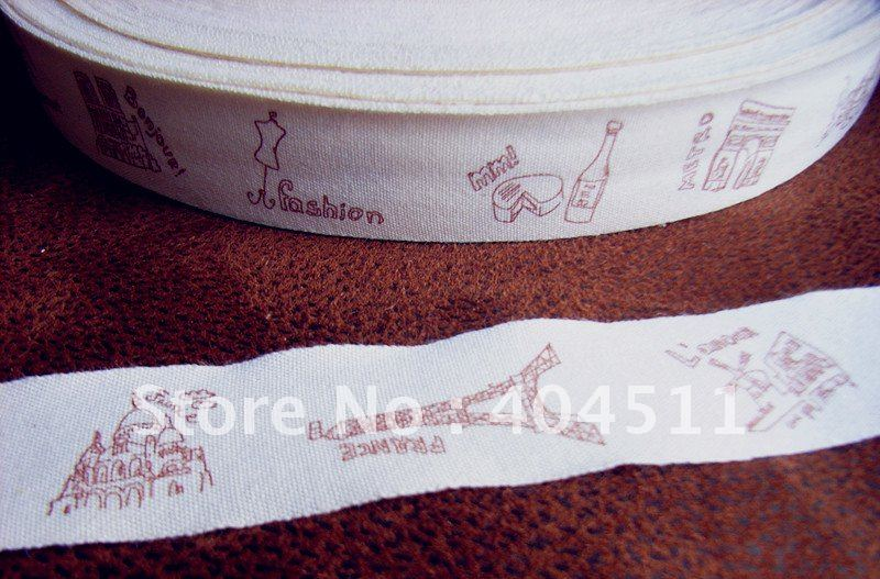 Cotton Ribbon Sewing Label 10 meter-The meaning of travel-Eiffel-Arc de triomphe(China (Mainland))