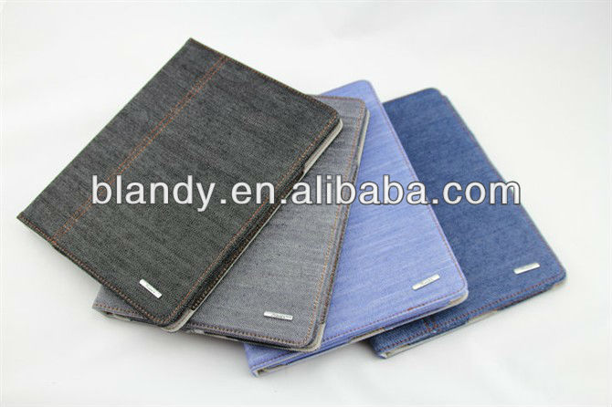 5pcs/lot Free shipping Hot selling cowboy cloth denim cover case for ipad 4 3 2(China (Mainland))