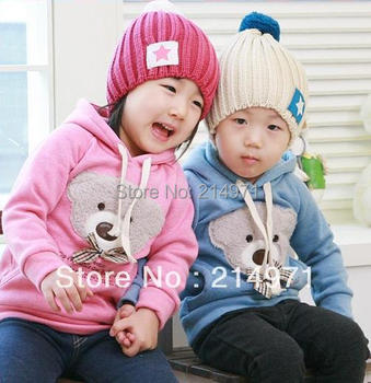 1-St 5pcs/lotIN STOCK! new Bear Head Bowtie Sweater Toddler clothes Kids Sweater Babywear new fashion outdoor baby coat