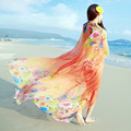 2016 Summer Print Silk Scarf Oversized Chiffon Scarf Women Wrap Beach Cover Up Long Cape Shawl