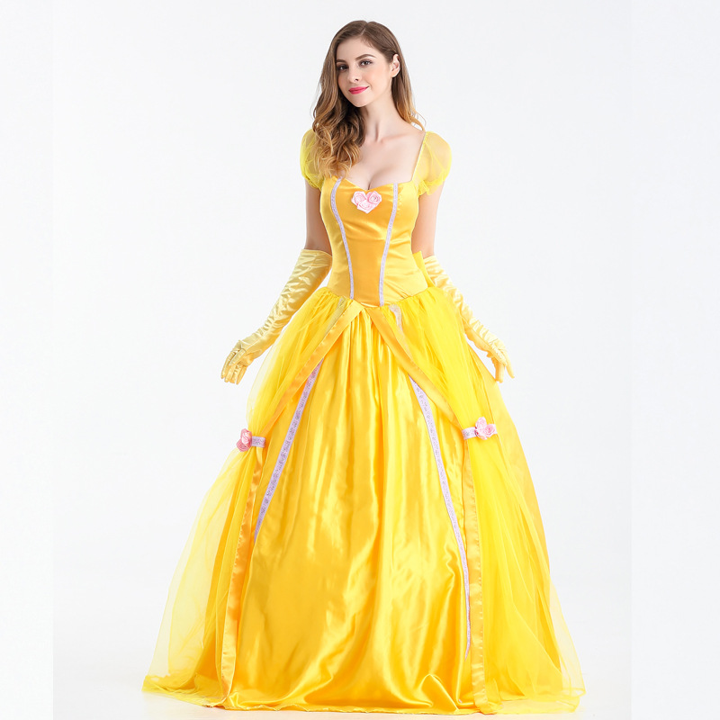 MOONIGHT Halloween Princess Dress Yellow Fairy Dress Retro Court Costume Fairy Tale Theme Costume Stage Costume