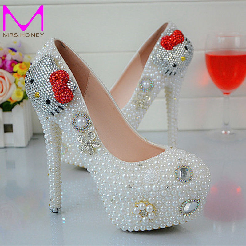 Cartoon Hello Kitty Rhinestone Wedding Shoes White Pearl Spring Autumn Lady Party Shoes Anniversary Party Prom Heels Big Size 45(China (Mainland))