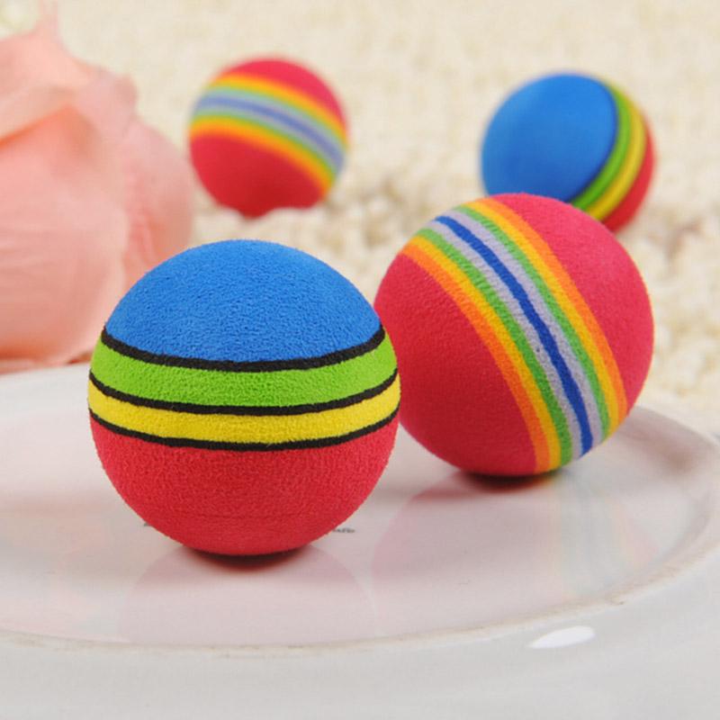 Free Shipping Super Q Rainbow Toy Ball Small Dog Cat Pet EVA Toys Golf Practice Balls 35mm 42mm G01241(China (Mainland))