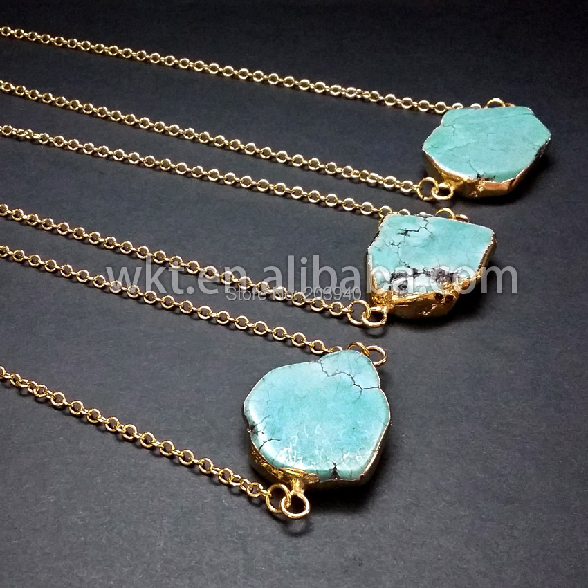 Hot sales natural turquoise necklace, gold plated turquoise necklace, fashion green turquoise jewelry(China (Mainland))