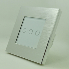 3gang 1way light remote control switch silver aluminum and glass panel touch switch EU UK standard