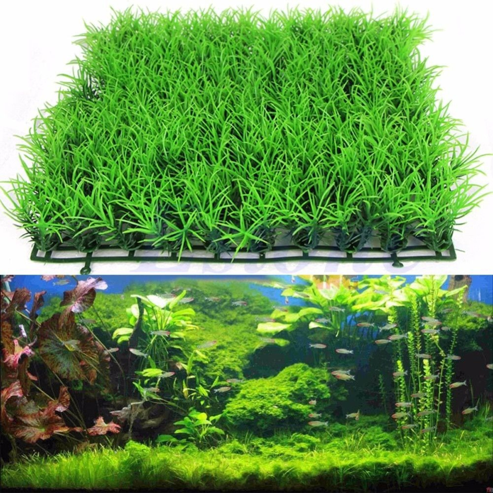 Free shipping artificial water aquatic green grass plant for Artificial fish pond plants