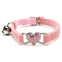 5 Colors Rhinestone Heart Puppy Dog Pretty  Cat Collar with bling Safety Elastic Belt & Bell 4 Colors for cats(China (Mainland))