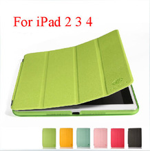 For ipad 2 cover New Luxury Colored Leather Flip Skin Case Smart Stand Holder Bag case for ipad 2 3 4 Ultra Slim capa for ipad 2(China (Mainland))
