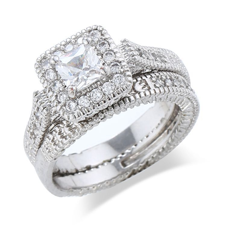 Fashion bijoux vintage style ring platinum plated cz Vintage style fashion rings
