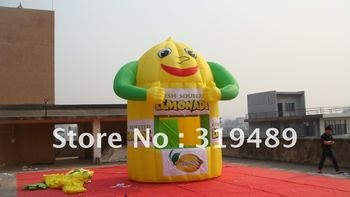 free shipping best selling inflatable smiling face lemonade booth with digital printing banners+free CE/UL air blower+carry bag
