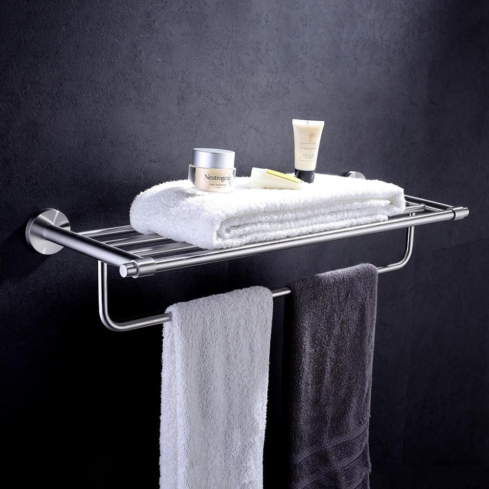 Finether Towel Rack Bathroom Towel Shelf Stainless Steel Chrome Wall Mounted Towel Holders Hanger Bar Rail Bathroom Accessories(China (Mainland))