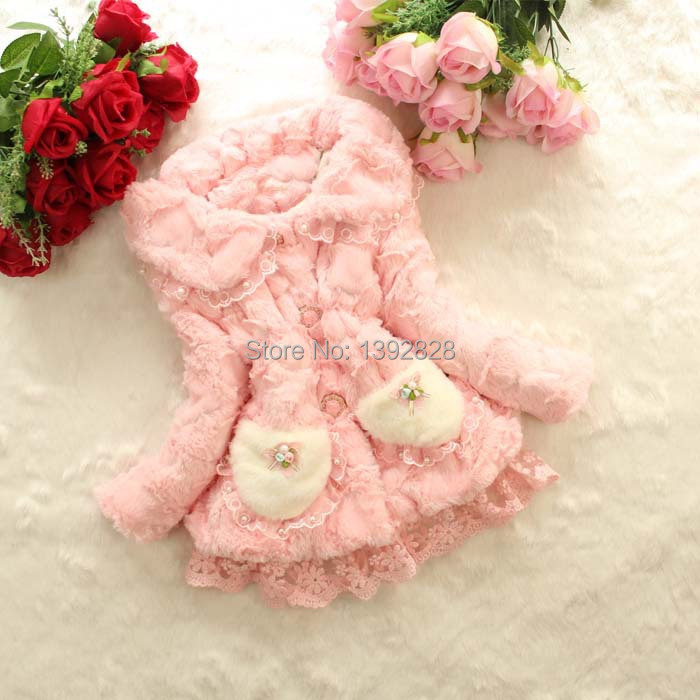 2014 Girls Fur Coat Winter,Trendy Design Children Fur Outerwear Jacket, Lace Children Thickening Clothing Good quality 3 color<br><br>Aliexpress