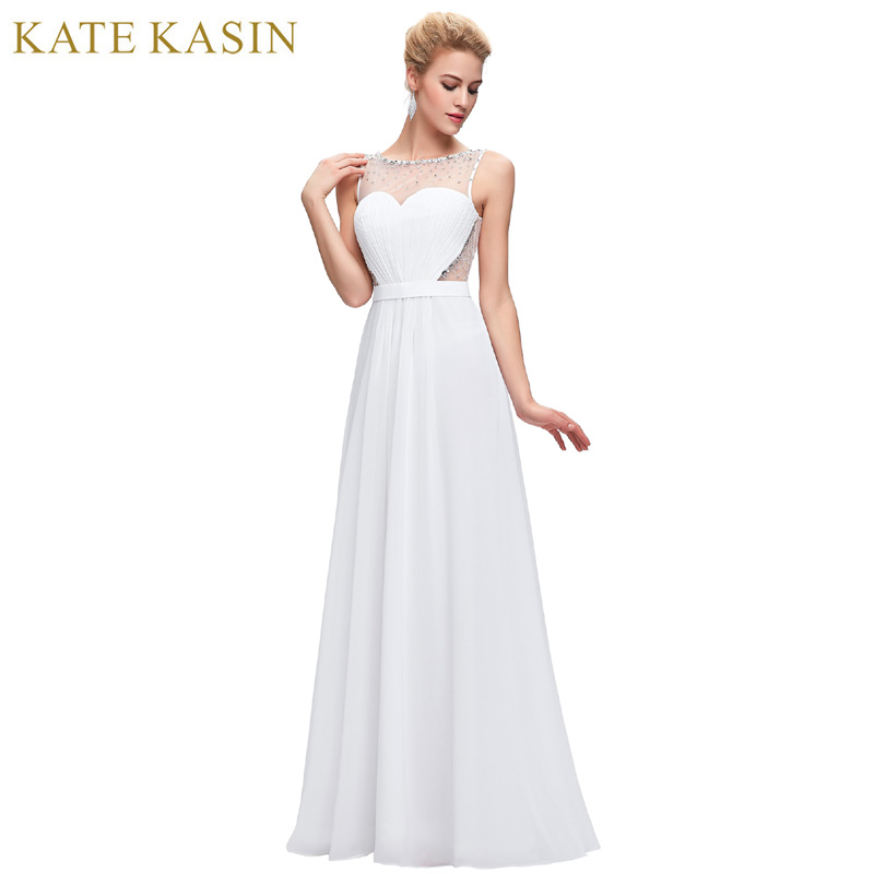 Kate Kasin White Backless Evening Dresses Draped with Belt Slim A Line Chiffon Long Ladies Evening Gowns Formal Dress Black 0064(China (Mainland))