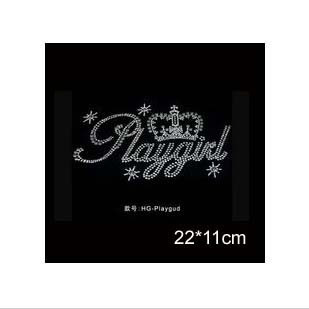 New 'playgirl' with crown aluminum patch, Metal flake material heat transfer design iron on motifs,applique(ss-1382-1)(China (Mainland))