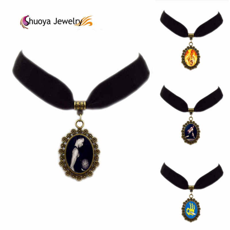 Glass Necklace Stephen Curry B&M 2016 New Fashion Oval Glass Black Velvet Ribbon Chokers Necklaces With Pendant Stephen Curry(China (Mainland))