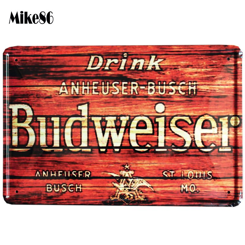 [ Mike86 ] Budweiser Metal Sign Bar Decor Vintage Sticker Wall Poster Tin ART 20*30 CM Mix Items A-1097(China (Mainland))