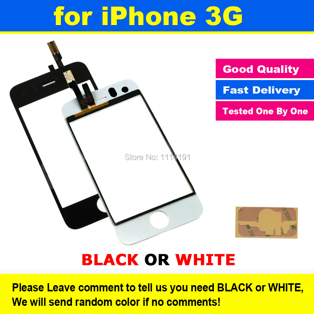 BLACK or WHITE Original Glass Touch Screen Digitizer Touch Panel Replacement Adhesive for iPhone 3 3G(China (Mainland))