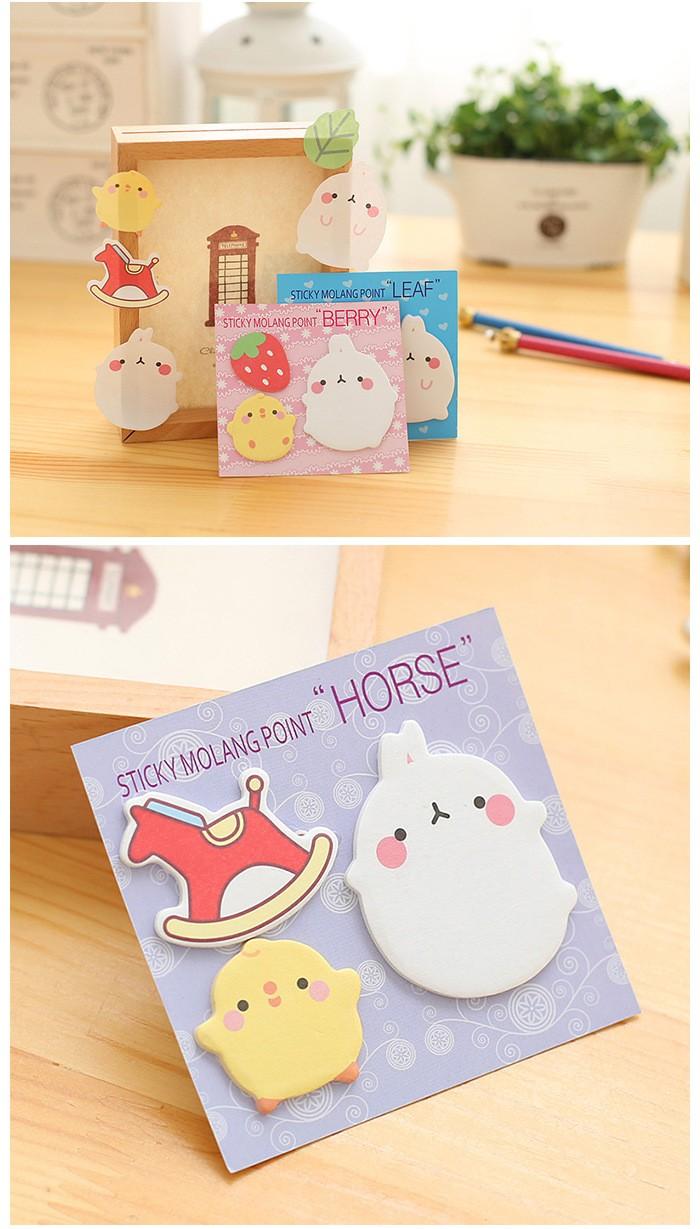 12 pcs Fresh Style Kawaii Cartoon Potato Rabbit Sticky Notes Memo Notepad School Office Supply Escolar Papelaria Gift Stationery