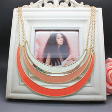 Free Shipping 2014 New High quality Jewelry Accessories Neon Geometry Multilayer Statement Choker Chunky Necklace For