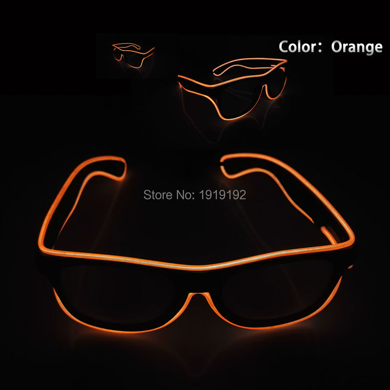 Sound control el glasses Clear Lens El Wire Fashion Neon LED Light Up Shutter Shaped Glasses Rave Costume Christmas Party