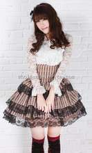 Sweet High Waist Pleated Brown Layered SK Lolita Skirt