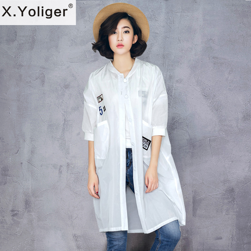 X.Yoliger 2016 new summer loose casual thin trenchs sun blocks half sleeve cardigans women coats code division 462003(China (Mainland))