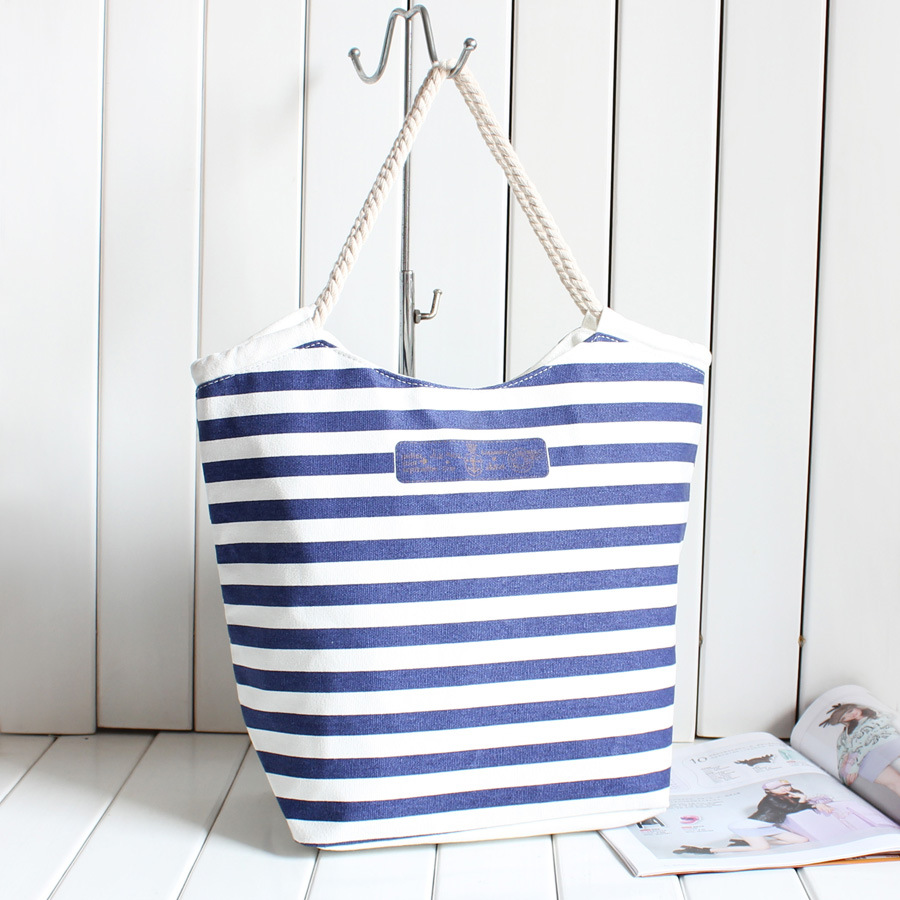 Stripe Women Handbag Canvas Tote Bags Famous Brand Handbags Beach Bags Women Blue Canvas Messenger Bag Women Bolsa de Franja(China (Mainland))