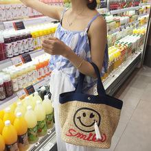 Smiling Face Portable Straw Bag Beach Handbags Women Famous Brands Tote Women Messenger Shoulder Bag