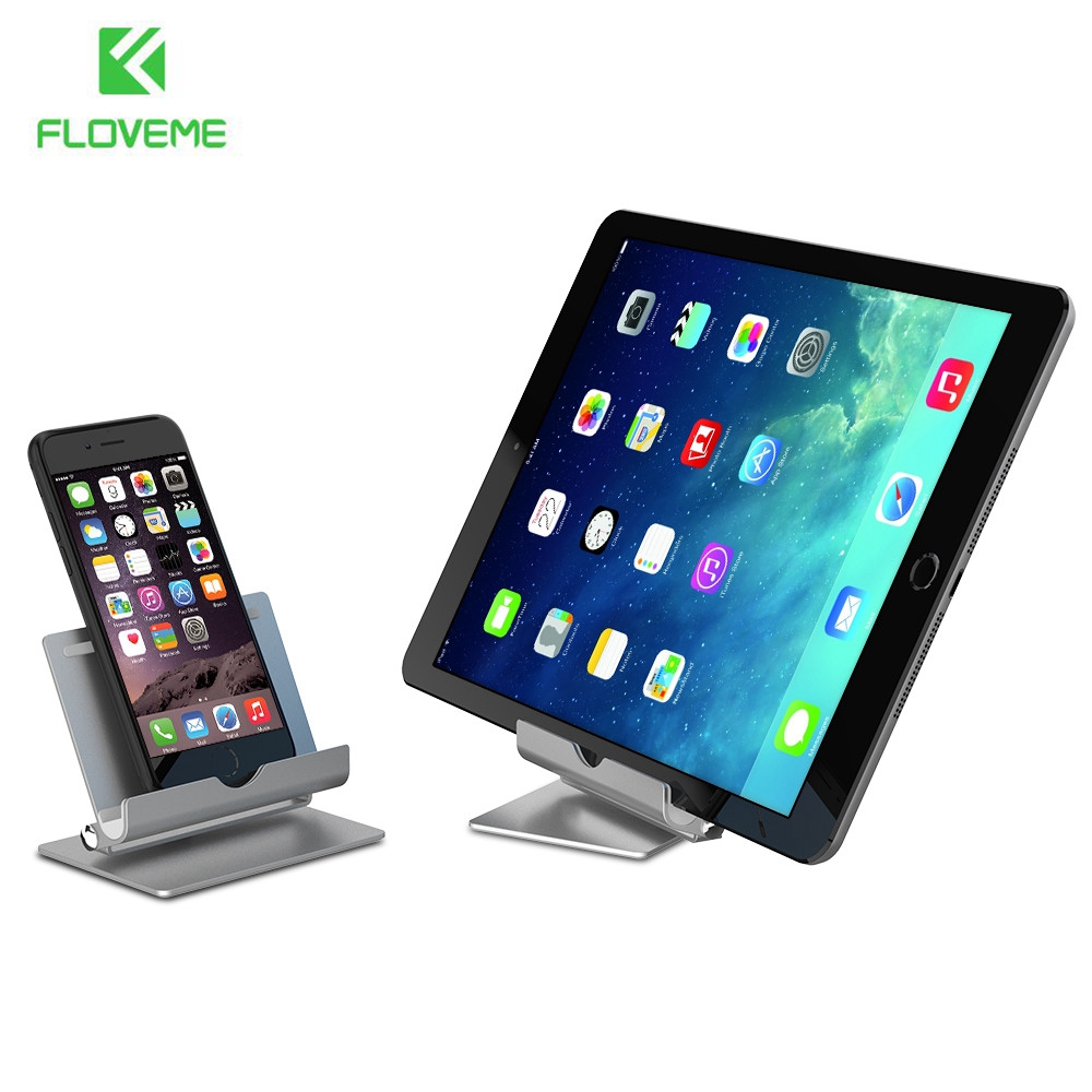 FLOVEME Luxury Holder Stand Universal For iPhone iPad Samsung Xiaomi 360 Degree Rotatable Metal Aluminium Desk Tablet PC Stands(China (Mainland))