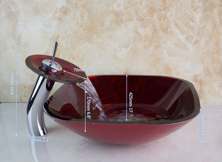 Best Price Square Burgundy Color Construction Real Estate Bathroom Vessel Faucet With Drainer Laxuary Glass Basin