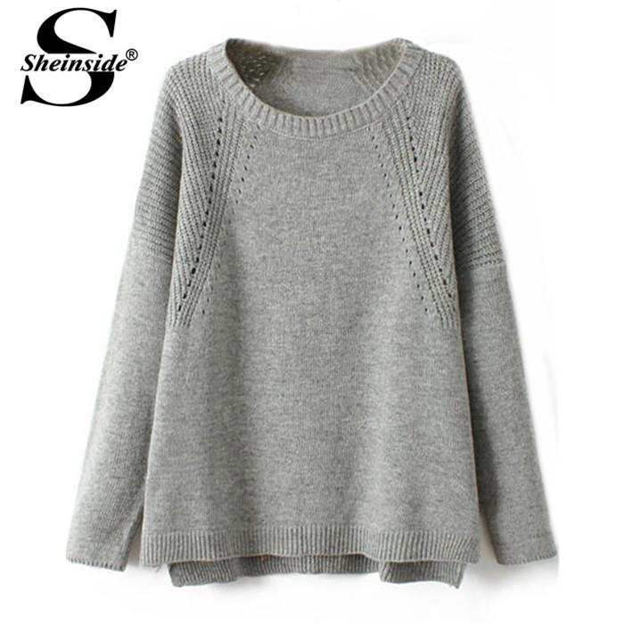 Sheinside Autumn Tops Fashion Pattern Pullovers Woman Clothes Desigual Sale Pink/Grey Long Sleeve Vintage Knit Loose Sweater(China (Mainland))
