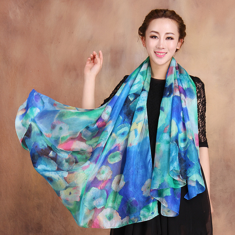 2015 Winter Fashion Women's Scarf Hot Sale Mulberry Silk Scarves Shawl Female Long Silk Scarf Blue and Coffee(China (Mainland))