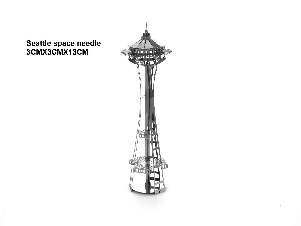 Seattle space needle building model 3D puzzle DIY metalic jigsaw,free shipping best kids birthday gift,educational toys(China (Mainland))