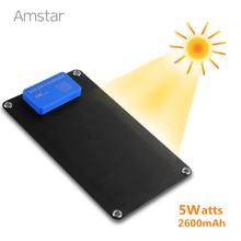 Amstar 5W Portable Solar Charger & 2600mAh Power Bank Sunpower High Efficiency Panel Solar for iPhone 6S Plus Samsung S7 Edge