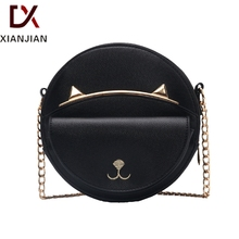 Xianjian Cute lovely lady girl round shaped leather sling messenger bag with embroidered cat  (XJNB1109)(China (Mainland))