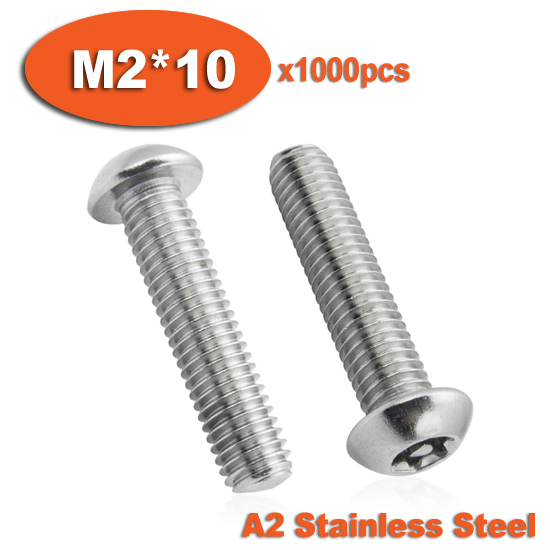 100pcs ISO7380 M2 x 10 A2 Stainless Steel Torx Button Head Tamper Proof Security Screw Screws<br><br>Aliexpress