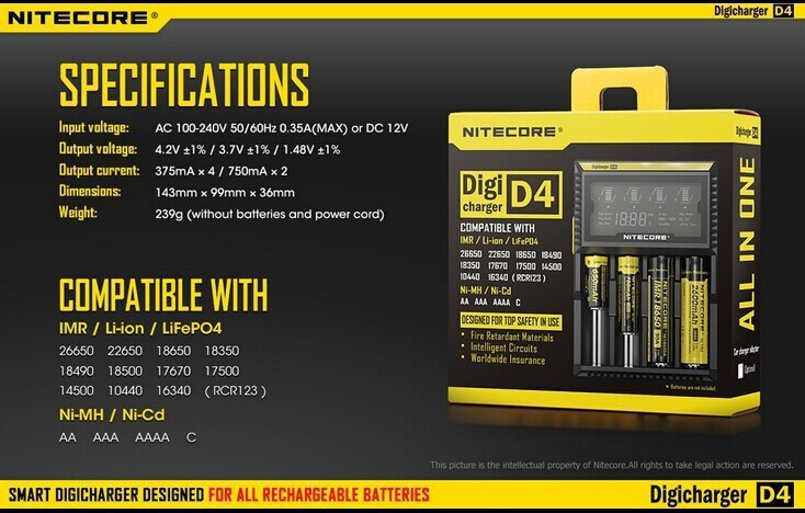 2015 New Nitecore D4 Digicharger LCD Display Nitecore Battery Charger Intelligent 2 0 Fit LI ion